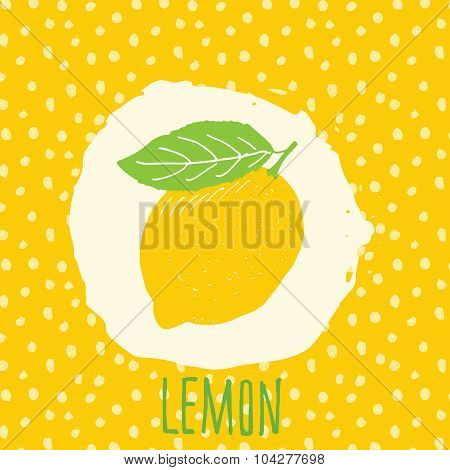 Lemon Hand Drawn Sketched Fruit With Leaf On Yellow Background With Dots Pattern. Doodle Vector Lemo