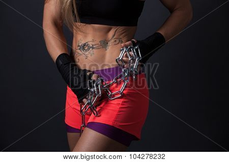 Fitness Girl With Chains