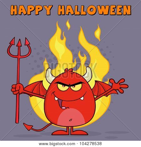 Evil Red Devil Cartoon Character Holding A Pitchfork Over Flames