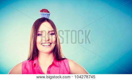 Crazy Woman Holds Chocolate Cake On Head