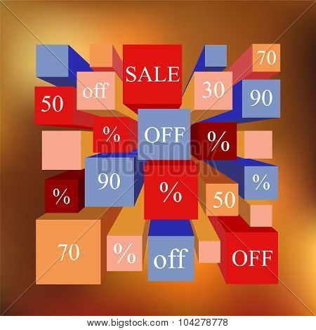 Info-graphic Elements. Sale. Blurred Background. Stock Vector