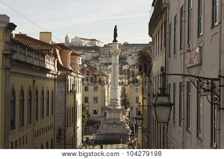Pedro Iv Column In Rossio Square