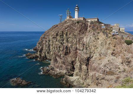 Cabo De Gata Lighthouse, Cabo De Gata-nijar Natural Park, Almeria, Spain