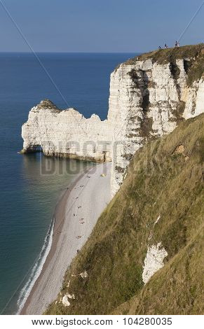 Cliff In Etretat, Cote D'albatre, Pays De Caux, Seine-maritime Department, Upper Normandy Region, Fr