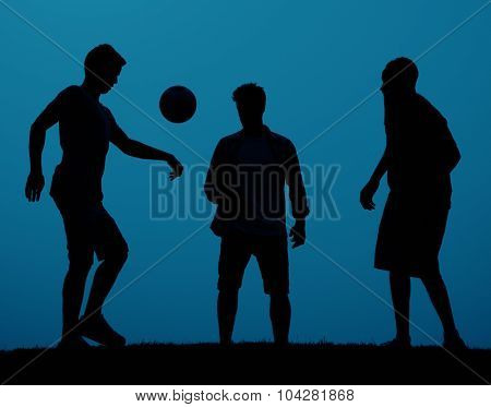 Active People Football Playing Team Concept