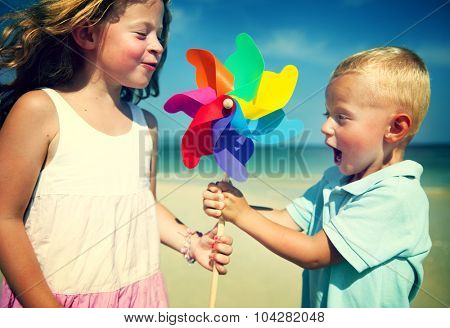 Brother Sister Fun Beach Children Kids Togetherness Concept