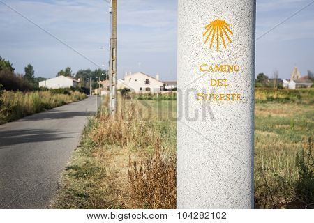 way of Saint James signpost in the countryside - Camino del Sureste