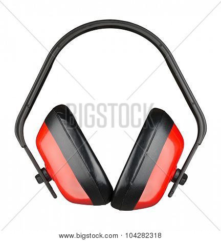 Protective ear muffs. Isolated on a white background.