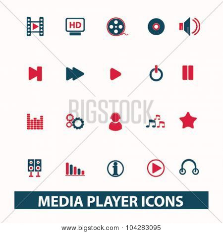 audio, video media player icons
