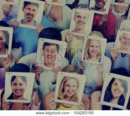 People Digital Tablet Social Media Networking Communication Concept