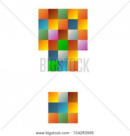 Exclamation mark. letter rainbow colorful sparkling vector illustration