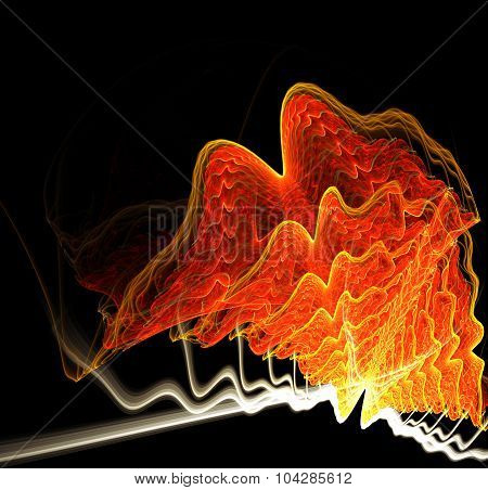Abstract image resembling swirling fiery waves or deep-sea mollusk. Fractal art graphics