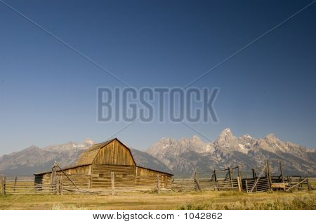 Mormon Barn And The Tetons