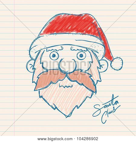 Santa Claus Hand Drawing On Paper