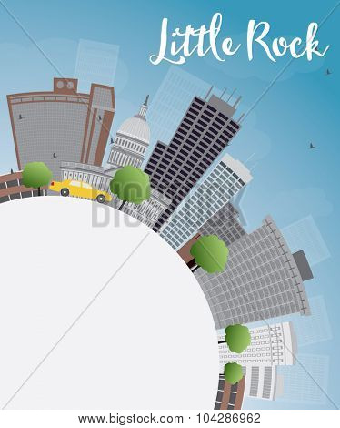 Little Rock Skyline with Grey Building, Blue Sky and copy space. Business travel and tourism concept with place for text. Image for presentation, banner, placard and web site.