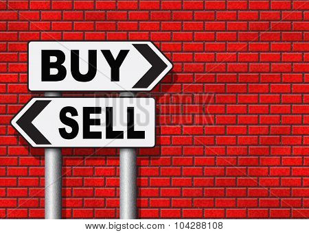 buy or sell market share buying or selling on stock market exchange international trade road sign text