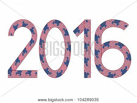 New Year 2016 Made Of Usa Flags