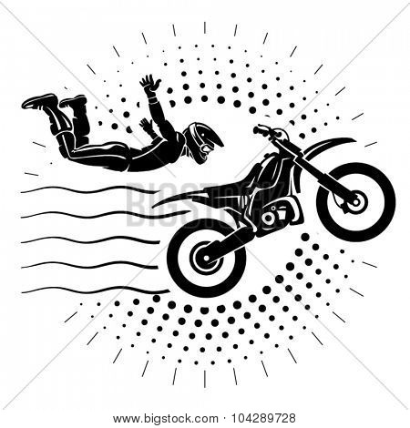 Acrobatic motorcycles jump show. Illustration in the engraving style