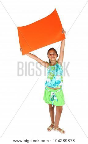 Little Girl With Orange Bollboard