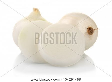 Whole and cut onions isolated on white