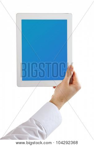Hand holding tablet PC with blue screen, isolated on white