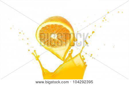 Orange with splashes isolated on white