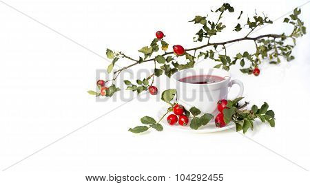 Cup of tea with wild roses on white background