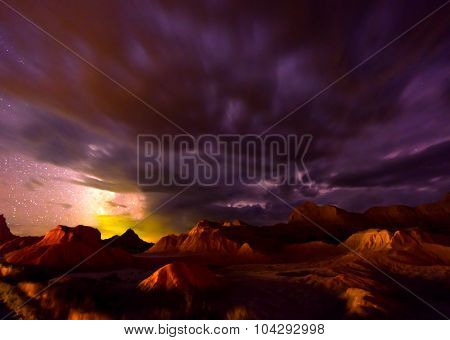 Beautiful Cloudy Night Badlands South Dakota