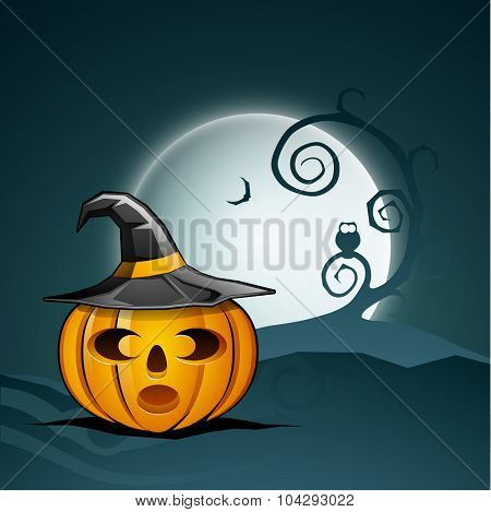 Scary pumpkin with witch hat on full moon light night background for Happy Halloween Party celebration.