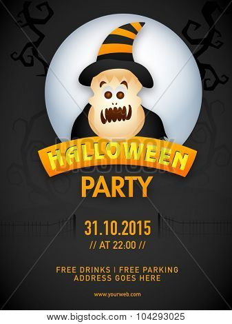 Creative Halloween Party template, banner or flyer design with date and time details.