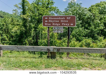 Skyline Drive And Blue Ridge Parkway Sign