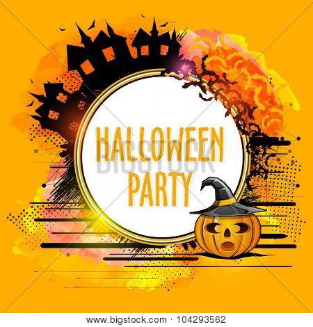 Happy Halloween Party celebration with creative sticky design and scary ornaments on abstract background.