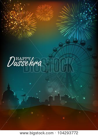 Creative illustration of a temple with big ferris wheel on firecrackers decorated night background for Indian festival, Happy Dussehra celebration.