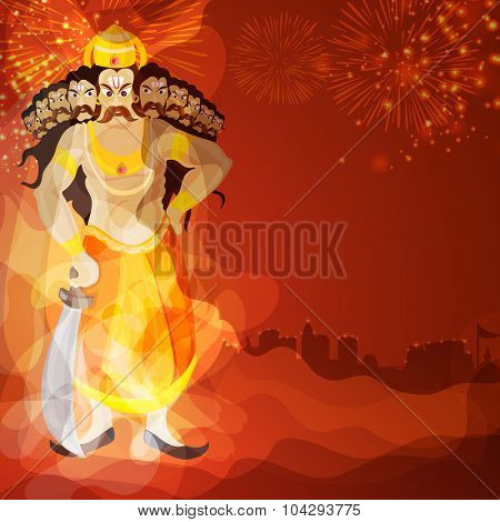 Creative statue of Ravana in anger on shiny firecrackers decorated background for Indian festival, Happy Dussehra celebration.