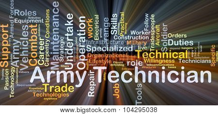 Background concept wordcloud illustration of army technician glowing light