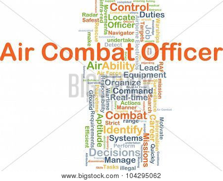Background concept wordcloud illustration of air combat officer