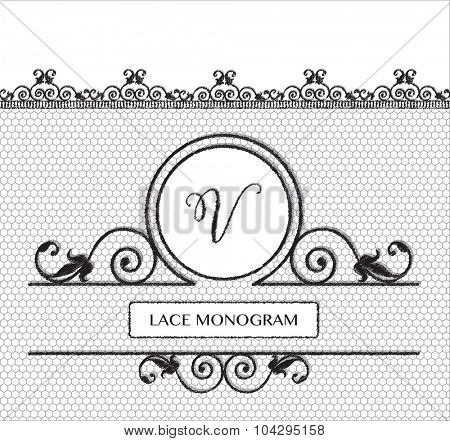 Letter V black lace monogram, stitched on seamless tulle background with antique style floral border. EPS10 vector format.