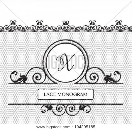 Letter X black lace monogram, stitched on seamless tulle background with antique style floral border. EPS10 vector format.