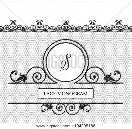 Letter S black lace monogram, stitched on seamless tulle background with antique style floral border. EPS10 vector format.