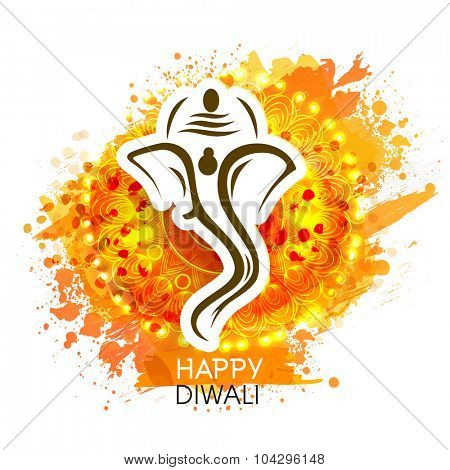 Creative illustration of Lord Ganesha on shiny floral design decorated background for Indian Festival of Lights, Happy Diwali celebration.