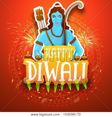 Creative illustration of Lord Rama on fireworks decorated background for Indian Festival of Lights, Happy Diwali celebration.