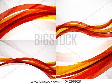 Set of abstract backgrounds. Glossy wide colorful wave. Banner advertising layouts - templates and wallpapers