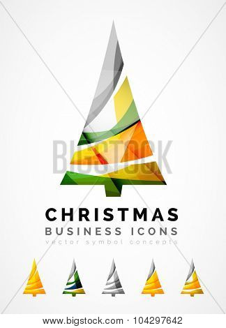 Set of abstract Christmas Tree Icons, business logo concepts, clean modern glossy design. Created with transparent abstract wave lines