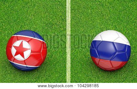 Team balls for North Korea vs Russia soccer tournament match