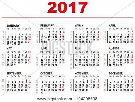 2017 Calendar template. Horizontal weeks. First day Monday