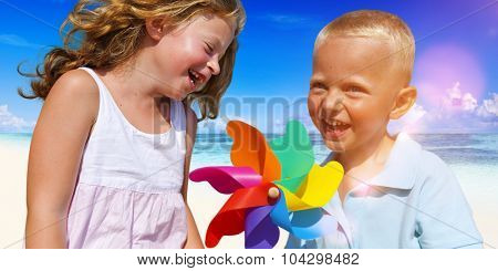 Brother and Sister having fun on the Beach Concept