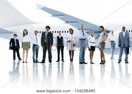 Multiethnic Group of Business People with Airplane