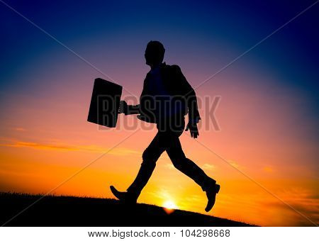 Business man Running Commuter Late Hurry Concept