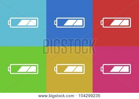 battery flat design modern vector icons colorful set for web and mobile app