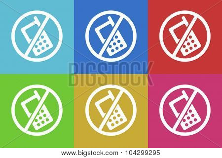 no phone flat design modern vector icons colorful set for web and mobile app